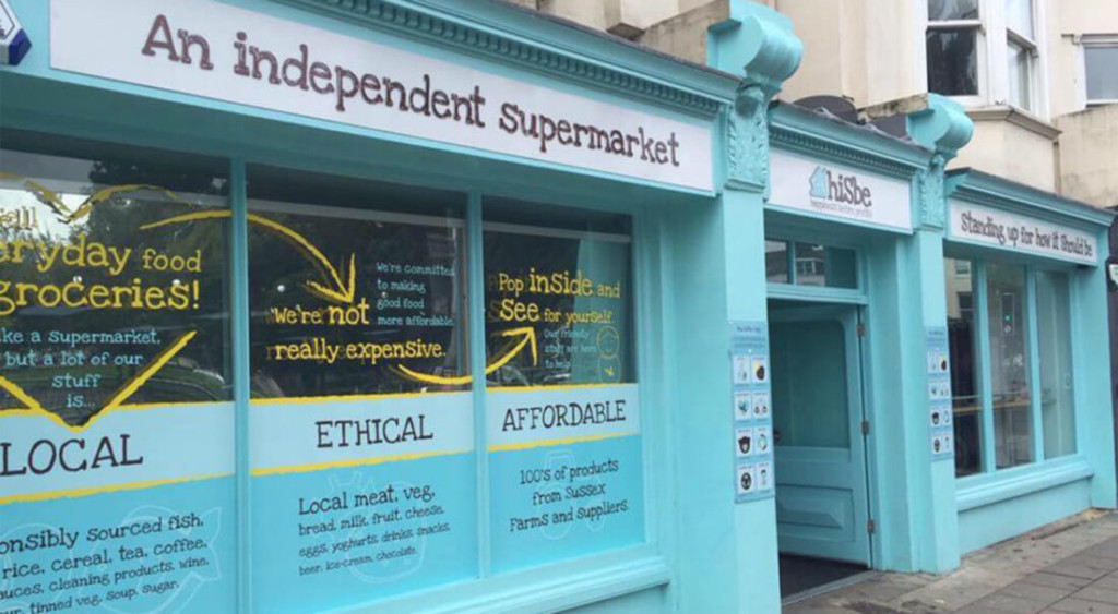 image shows the HISBE supermarket in Brighton